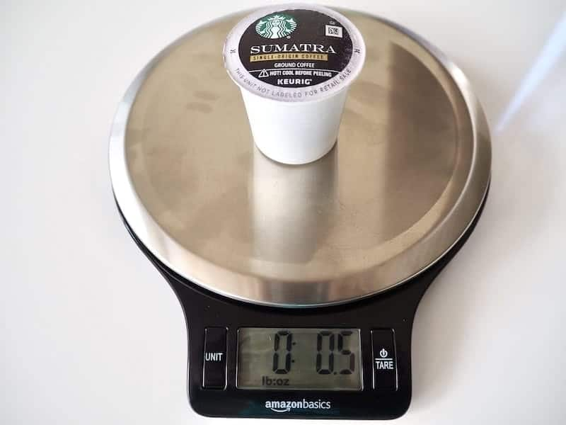 The average K-Cup weighs between 12 and 16 grams or 0.4 to 0.6 ounces
